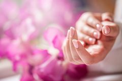 Крупный план снял красивых женских dands с ногтями Франции mani Стоковое Изображение