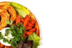 Крупный план снял подноса еды вполне вкусных закусок Стоковая Фотография RF
