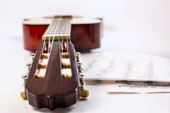 Крупный план снял fingerboard и листа гитары с примечаниями Стоковое Изображение