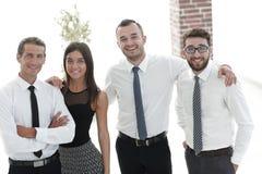 Крупный план счастливой команды дела людей Стоковые Изображения RF