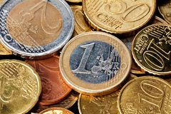 крупный план чеканит евро стоковая фотография rf