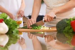 Крупный план человеческих рук варя в кухне Мать и дочь или 2 женских друз режа овощи для свежего салата Стоковое фото RF