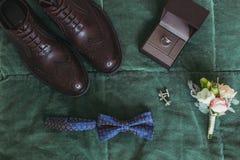 Крупный план элегантных стильных темных мужских аксессуаров на зеленой предпосылке Взгляд сверху бабочки, ботинок, флористическог Стоковое фото RF