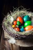 Крупный план яичек для пасхи в деревянной малой курятнике Стоковые Изображения RF
