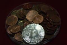 Крупный план bitcoin стоковые фото