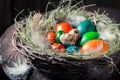 Крупный план colourfull eggs для пасхи с сеном и пер Стоковые Фото