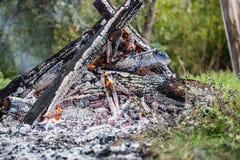 Крупный пожар, от много отрезка и сдаватьой в утиль древесины, сильное пламя стоковые изображения