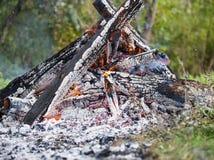 Крупный пожар, от много отрезка и сдаватьой в утиль древесины, сильное пламя стоковые изображения rf