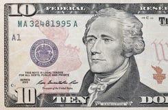 Крупный план банкноты 10 долларов США Стоковые Фотографии RF