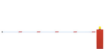 Крупный план барьера отстробированной дороги, бар строба проезжей части в стопе белых и красных, скоростной дороги движения Turnp Стоковое фото RF