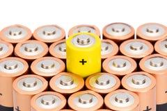 Крупный план батареи AA на белой предпосылке Стоковое Изображение RF