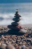 Крупный план башни камешков моря Стоковое Изображение RF