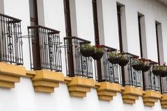 Крупный план балконов в Popayan Колумбии стоковое фото