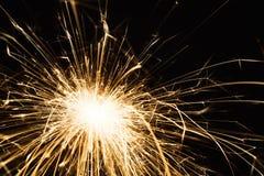 Крупный план бенгальского огня партии Нового Года на черной предпосылке Стоковое Изображение