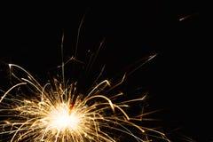 Крупный план бенгальского огня партии Нового Года на черной предпосылке Стоковая Фотография RF