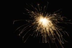 Крупный план бенгальского огня партии Нового Года на черной предпосылке Стоковые Фотографии RF