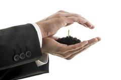 Крупный план бизнесмена держа щипок плодородной почвы с gree Стоковые Изображения