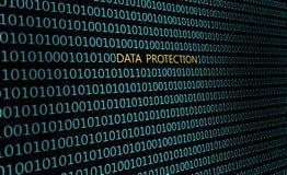 Крупный план бинарного кода, с ` защиты данных ` надписи иллюстрация штока