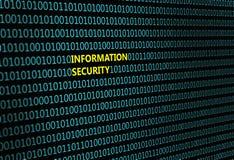 Крупный план бинарного кода, с ` информационной безопасности ` надписи иллюстрация вектора