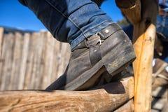 Крупный план ботинка ковбоя Стоковое Изображение