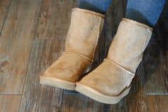 Крупный план ботинок Ugg Стоковые Изображения