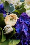 Крупный план букета белой и голубой весны цветет Стоковая Фотография