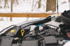 Крупный план двигателя автомобиля с космосом экземпляра Внешнее фото в зиме Стоковое фото RF