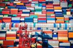 Крупный план двора контейнера стоковая фотография rf