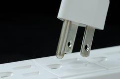 Крупный план выхода гнезда электрического шнура электрический Стоковая Фотография RF