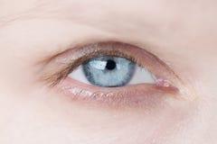 Крупный план голубого глаза ` s женщины Стоковые Изображения RF