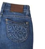 Крупный план голубых джинсов карманный изолированный на белой предпосылке Стоковое фото RF