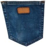 Крупный план голубых джинсов карманный на белизне Стоковые Изображения