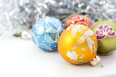 Крупный план голубых шариков рождества Стоковое Фото