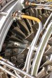 Крупный план лезвий реактивного двигателя самолета Стоковое Изображение RF