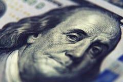 Крупный план денег Долларовые банкноты американца 100 Стоковые Изображения RF