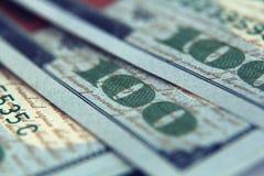 Крупный план денег Долларовые банкноты американца 100 Стоковая Фотография