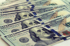 Крупный план денег Долларовые банкноты американца 100 Стоковое Фото