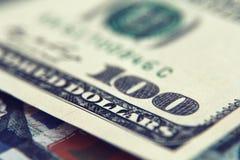 Крупный план денег Долларовые банкноты американца 100 Стоковые Изображения
