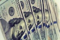 Крупный план денег Долларовые банкноты американца 100 Стоковое Изображение RF