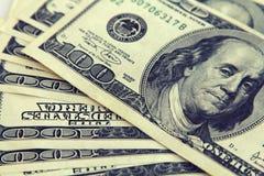 Крупный план денег Долларовые банкноты американца 100 Стоковая Фотография RF