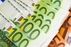 Крупный план денег наличных денег евро Стоковое Фото