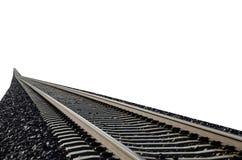 Крупный план железнодорожных путей изолированный на белизне Стоковые Фото