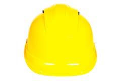 Крупный план желтого защитного шлема на белой предпосылке Стоковое Фото