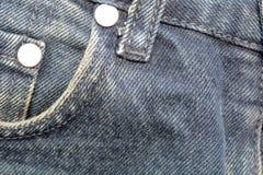 Крупный план джинсовой ткани карманный, предпосылка текстуры джинсов и карманн Стоковые Изображения RF