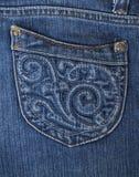 Крупный план джинсов карманный Предпосылка джинсовой ткани Стоковая Фотография