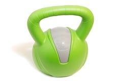 Крупный план зеленого цвета 8 kg kettlebell Стоковое Изображение RF