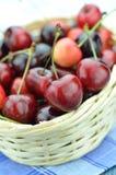 Крупный план зрелых, свежих и сладостных вишен в плетеной корзине Стоковая Фотография