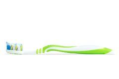 Крупный план зубной щетки с зубной пастой Стоковая Фотография