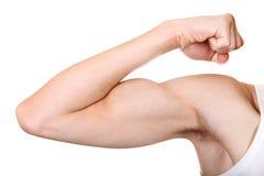Крупный план изгибать мышцы стоковое фото
