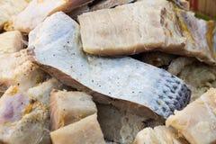 Крупный план и фокус на части сохраненных посоленных рыб Стоковое Фото